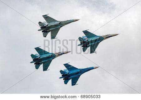 Team of military air fighters Su-27