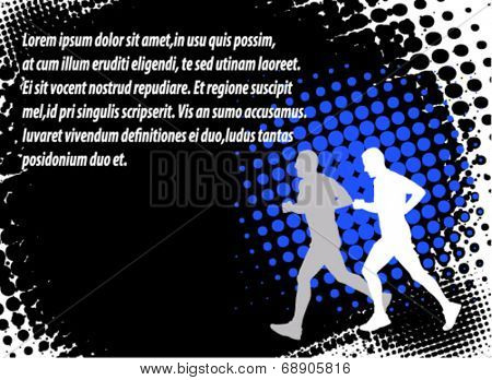 runners on the abstract halftone background