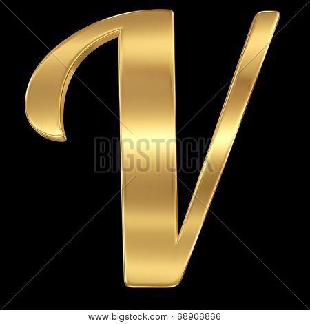 Golden shining metallic 3D symbol letter V - isolated on black.