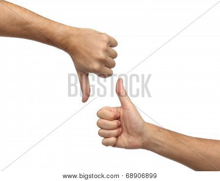 Hands signs. Thumb up and thumb down isolated