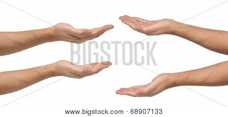 Man hands sign isolated on white