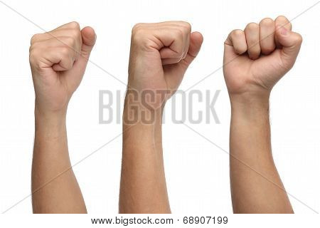 Hand signs. Punch fist isolated on white
