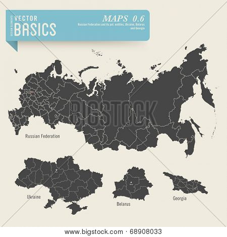 vector basics: detailed maps of the Russian Federation, Ukraine, Belarus and Georgia with their administrative/political divisions