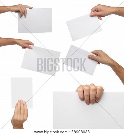 Collection of hand holding blank paper isolated on white