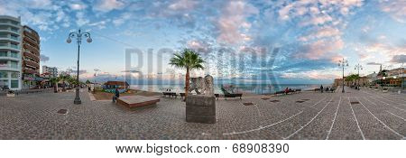 Larnaca, Cyprus - December, 10 2013: Winged Lion Statue At Foinikoudes Promenade.