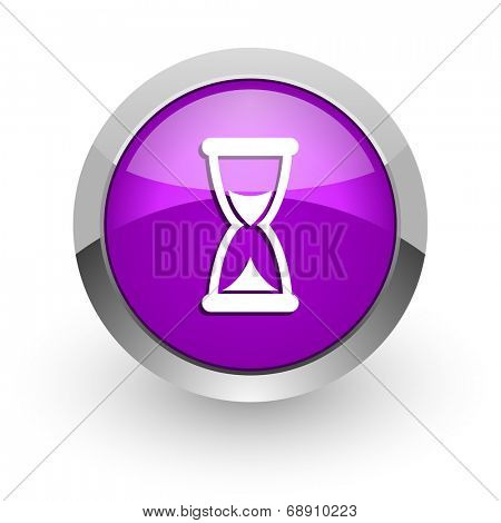 time pink glossy web icon