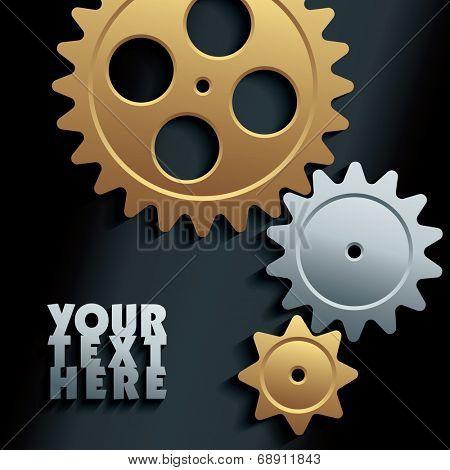 3D machine gears - vector illustration