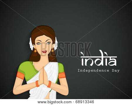 Beautiful Indian young lady saying namaste and stylish text India on grey background for Independence Day celebrations.