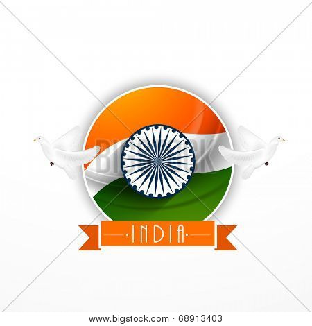 Creative origami sticky design with flying pigeons and Asoka Wheel on national tricolors background for Indian Independence Day celebrations.