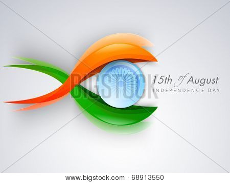 Creative concept for 15th of August, Indian Independence Day celebrations with saffron, green colors and Asoka Wheel on grey background.