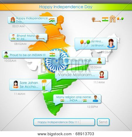 illustration of Happy Independence Day message in social media application with message Victory for Mother India and better than the entire world
