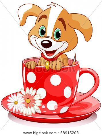 Domestic doggy sits in tea cup.