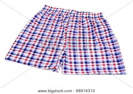 checkered boxer shorts on a white background