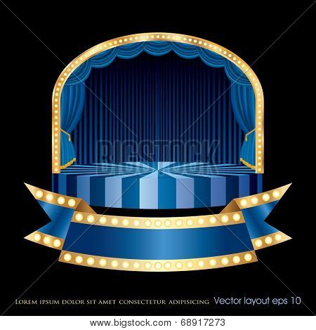 vector circle circus stage with blue bulb banner