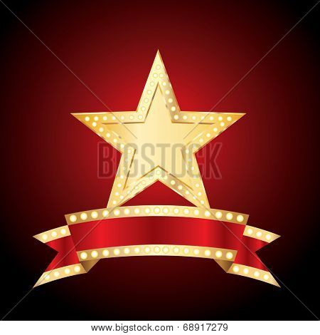vector golden bulb star with blank bulb banner