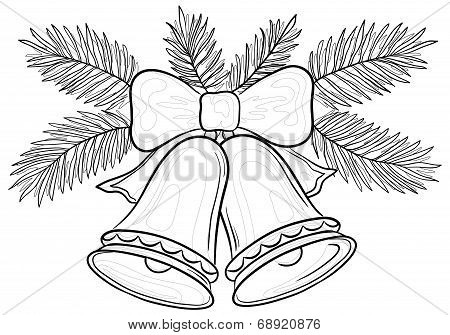 Christmas bells and fir branches contours