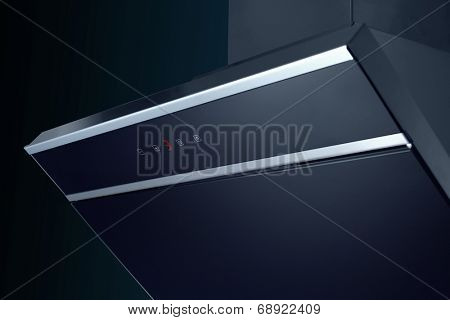 Close up of modern stainless steel cooker hood