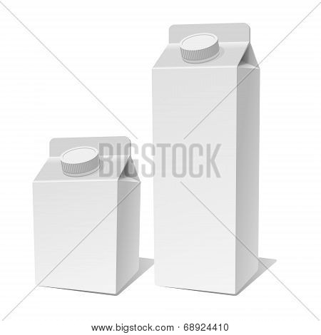 Paper Milk Product Pack Container Set. Vector