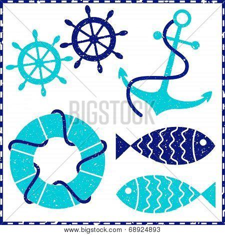 Grunge nautical elements
