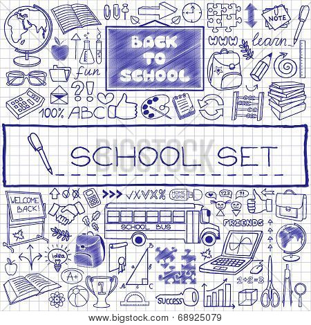Hand drawn school icons set