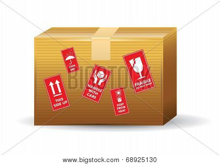 Brown Box With Icons