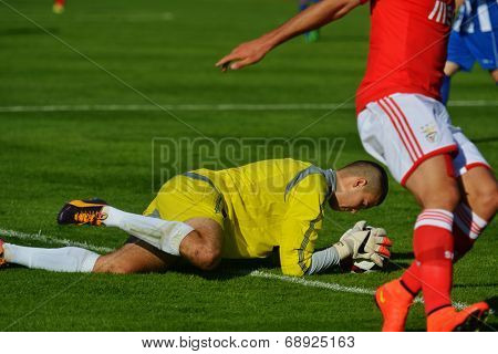 MOSCOW, RUSSIA - JULY 22, 2014: S. Cupic of OFK, Serbia with the ball in the match against Benfica, Portugal during the Lev Yashin VTB Cup, international tournament for U21 soccer teams. OFK won 1-0