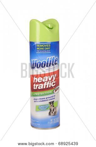 Hayward, CA - July 20, 2014: 22 oz can of Woolite heavy traffic carpet cleaner