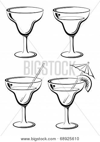 Set glasses, black pictograms