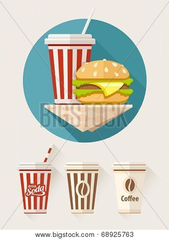 Hamburger and soda in paper cups flat icons set. Eps10 vector illustration