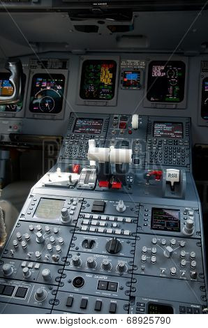 Cockpit Of Jet Airliner