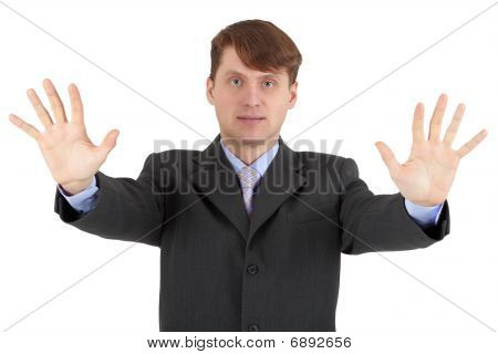 Young Man Shows Gesture Of Hands - Stop