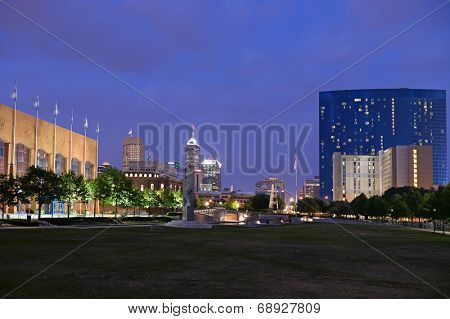 Skyline of city of Indianapolis at dusk