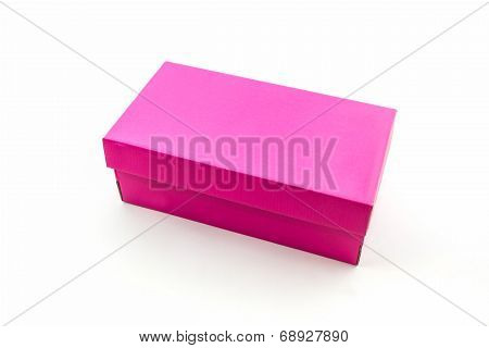 Pink Shoe Box On White Background With Clipping Path.