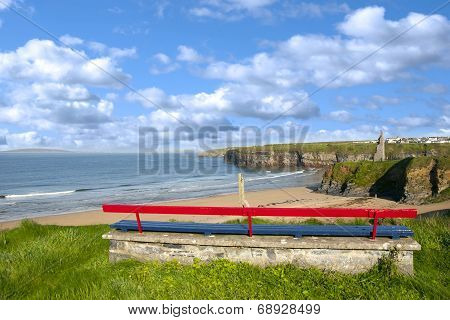 Ballybunion Bench Beach And Castle View