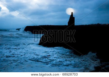 Ballybunion Castle And Cliffs During Storm