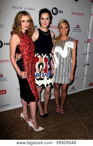 LOS ANGELES - JUL 22:  Laura Carmichael, Michelle Dockery, Joanne Froggatt at the