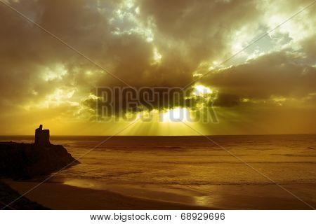 Beach, Castle And Cloud Beams