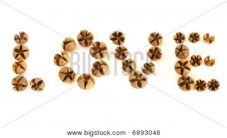 Small Wooden Shells Spell Love