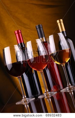 Wine Glasses And Bottles