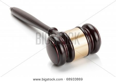 Wooden Judge Gavel Isolated On White Background - Studio Shoot.