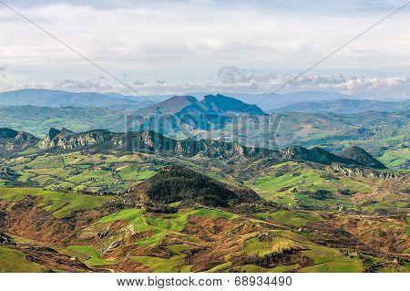 Panorama Of Mountains  In San Marino