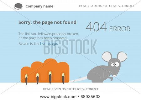 Gray mouse under cat's paw. Page not found Error 404