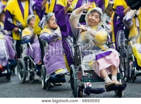 Elderly Japanese Ohara Festival Dancers in wheelchairs