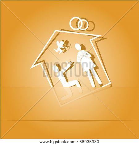 Home affiance. Paper sticker. Raster illustration.