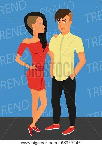 Hipster guy and his sensual girlfriend wearing stylish haircut