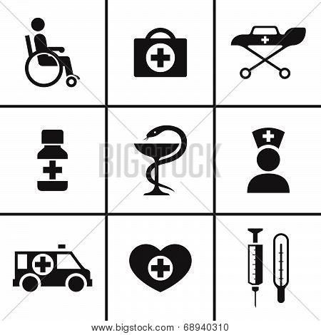 Medical and health care icons set