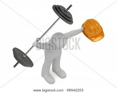 Strong 3D Man Keeps One Hand Greater Barbell