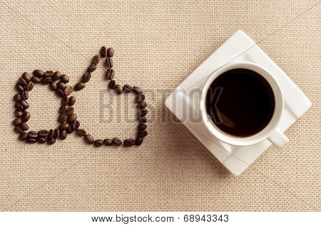 I Like Coffee, Cup Of Coffee And Coffee Beans