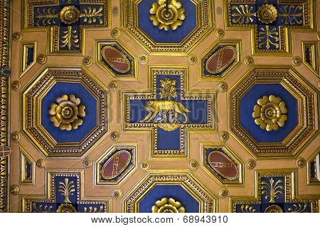 Fragment Of Ceiling With  Lupa Capitolina, Basilica Of Aquileia, Capitoline Museums, Rome, Italy