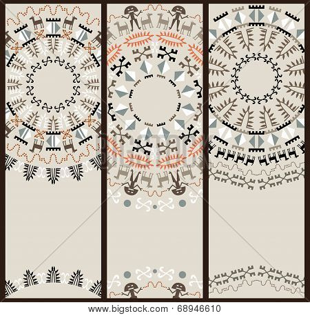 Tribal Pattern At Set Of Cards